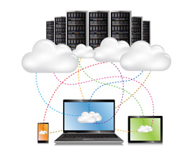 image shows cloud computing graphic on BanksDataCom website for online backups, cloud storage and virtual private servers